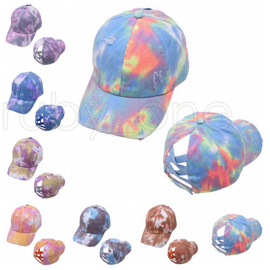 Tie Dye Ponytail Baseball Caps Washed Trucker Hats Criss Cross Pony Cap Outdoor Visor Snapbacks Caps Party Hats Supplies 7styles RRA4047