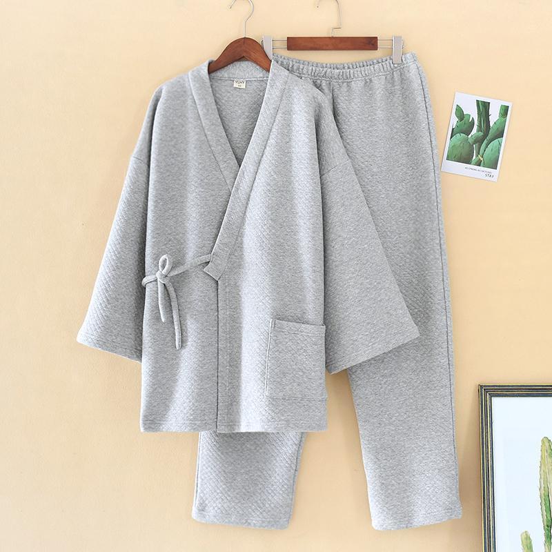 Men's Sleepwear Winter Thick Pajamas Set For Men Keep Warm V-neck Cotton Modal Fashion Traditional Oriental Japanese Nightgowns