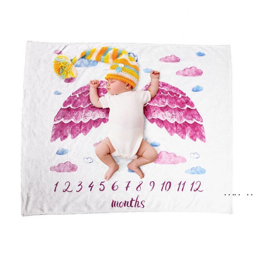 Baby Milestone Одеяло Eco-Friendly 70x102CM Фланелевые одеяла Путешествия Домашняя Кондиционер Печатная одеяло 7 Стили FWE4814