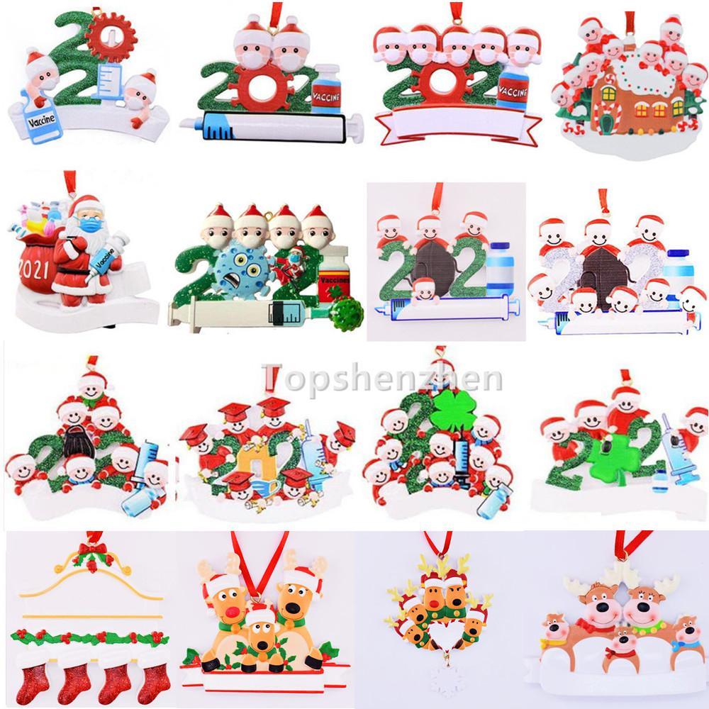 17 Style Upgraded 2021 Julprydnader Dekorationer Karantän Survivor Resin Ornament Creative Toys Tree Decor för Mask Snowman Hand Sanitized Family DIY Namn