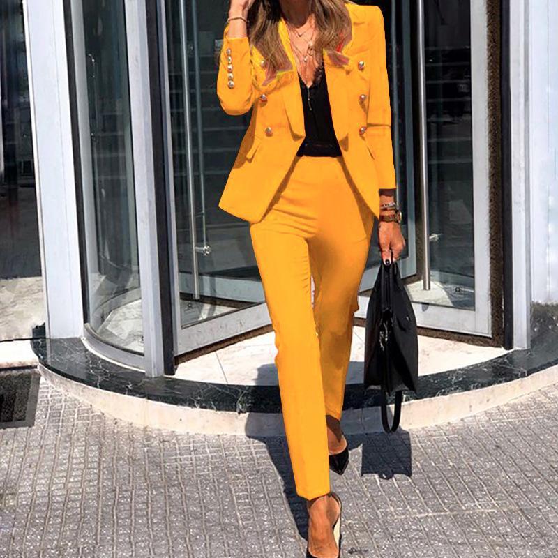 Women Suits Women Jacket Blazer Suit Fashion Casual Ladies Solid Color Two Piece 2021 Autumn Winter Office Wear Elegant Suit Jacket Pants