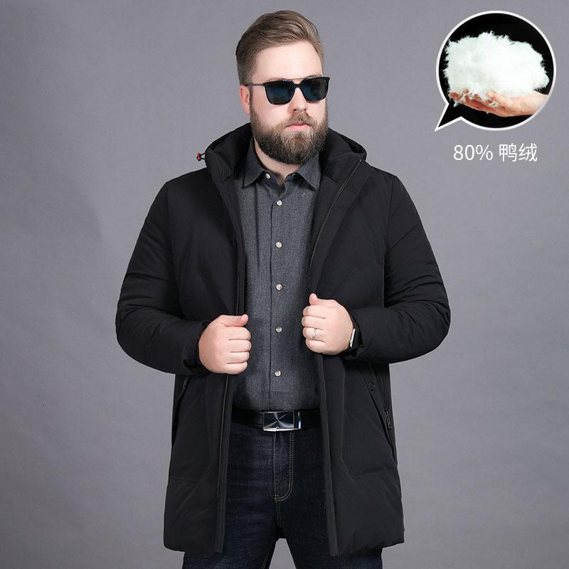 Зимние мужские утолщенные теплые плюс размер съемной шляпы толстый человек средний длинный пуховик