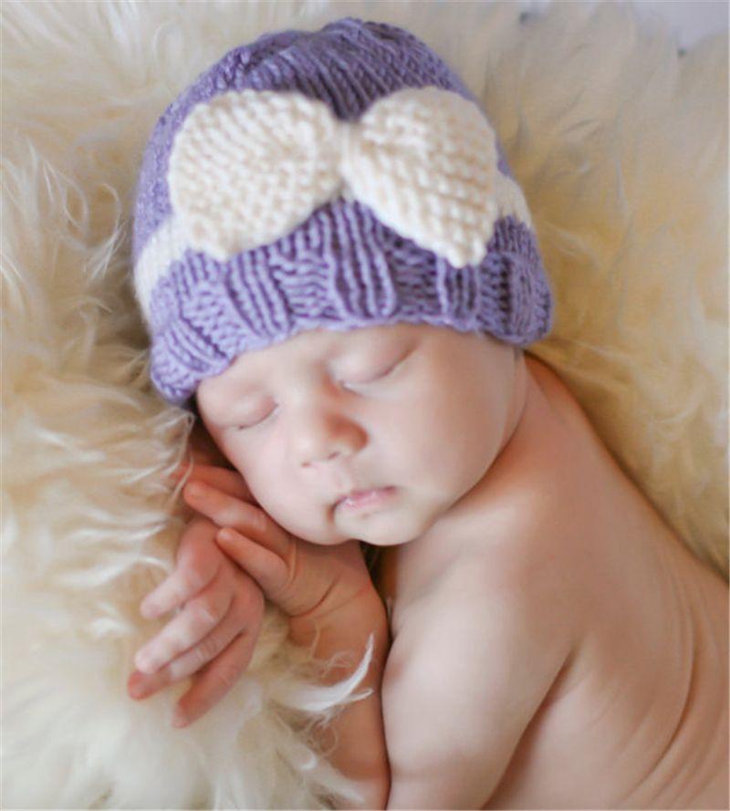Newborn baby Winter Warm Croceht Hat Bow cute handmade knitting ear muff Infant Knitted hats bowknot Caps KBH34