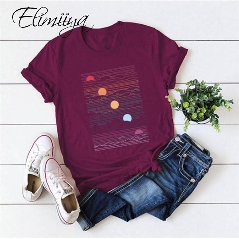 ÉLIMIYYA Abstrait T-shirt Femme T-shirt surdimensionné T-shirt à manches courtes à manches courtes O-Cou vêtements vêtements dames Tops Tees 2021 Top 210315