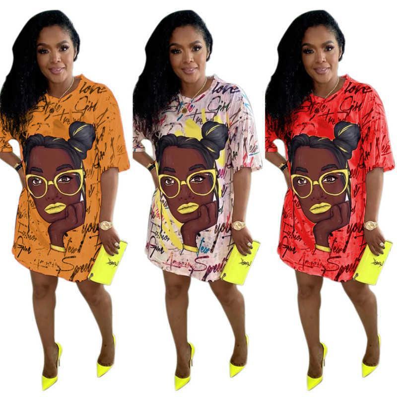 Mulheres Sexy Joelho-comprimento Vestido Casual Dos Desenhos Animados Soltos Dos Desenhos Animados Graffiti Cabeça Vestidos De Manga Curta Tshirt Saias Verão Partido Saia Uma Peça Roupas G685QR9