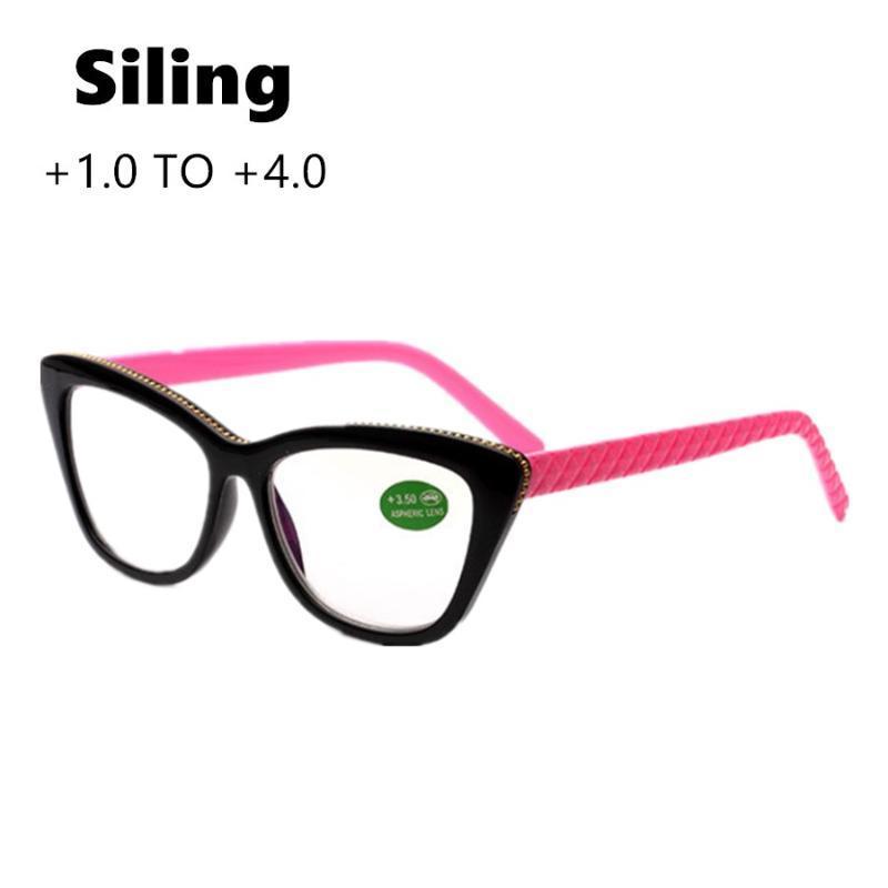 Sunglasses Ladies Men Cat Eye Reading Glasses Unisex Vintage Presbyopic Black Frame Red Leg Clear Lens Gorgeous Eyewear