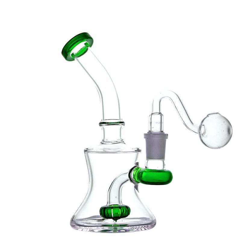 14.4mm feminino beaker bongos mão fumar tubulações de água petralhadores de petróleo monótonos velas cachimbos shisha 7.0 polegadas com vidro de queimador de óleo