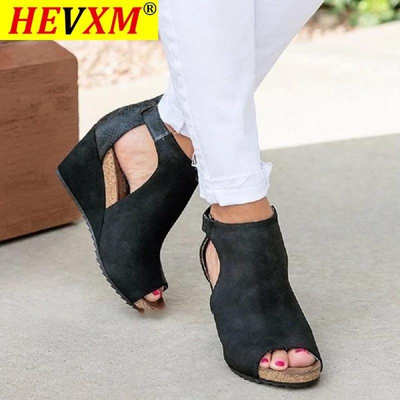 Sandalet Yaz Takozlar Kadınlar Açık Toe Yüksek Topuklu Leopar Serpantin Gladyatör Bayan Ayakkabı Platformu Rahat Plaj Sandalias