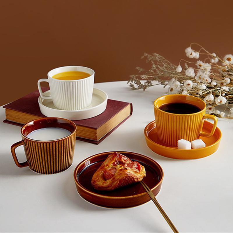 Ceramic Coffee Cup Reusable Saucer Retro Tea Cup Elegant Set Of Cups Milk Water Teacup Home Decor