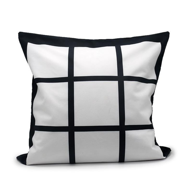 Sublimazione Blank Pillow Case Black Grid Tessuto Poliestere Cuscino Poliestere Copertura del calore Trasferimento di calore Coperchio di cuscino Throw Divano Pillowcases 40 * 40cm 382 S2