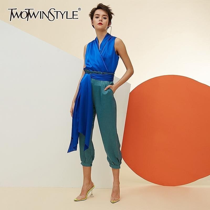 TWOTWINSTYLE Casual Two Piece Set For Women V Neck Sleeveless Tops High Waist Lace Up Pants Female Suits Spring New Fashion 210304