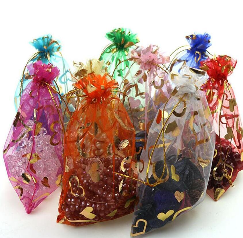 Heart Drawable Organza Wedding Gift Bags&Pouches For Jewelry Packaging jewelry making findings