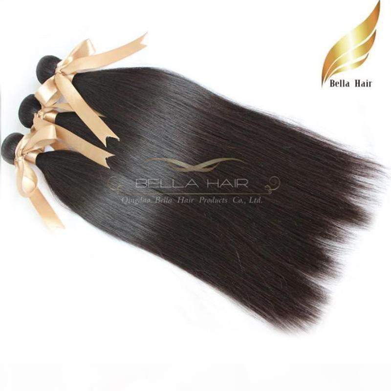 "8A 10""-34"" 100%Mongolian hair weaves 4pcs lot human hair Straight hair extensions DHL Free shipping Natural Color Bellahair"
