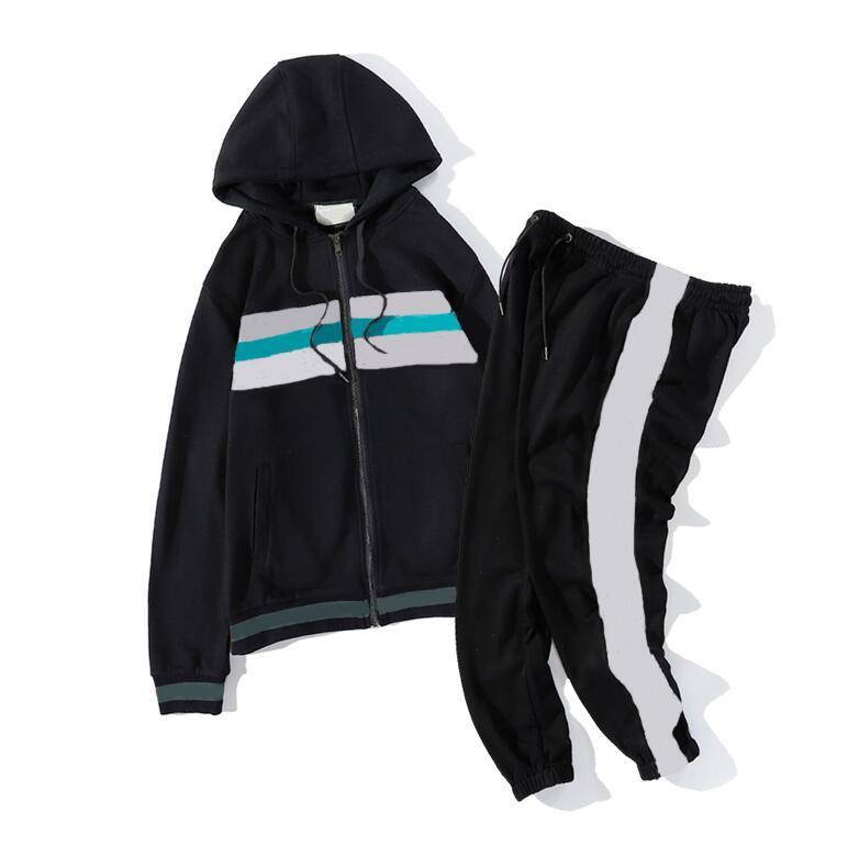 Новые моды мужские женские трексуиты высококачественные мужские толстовки куртки Jogger Suits куртка брюки наборы мужчин куртка спортивные наборы M-2XL 2 цвета