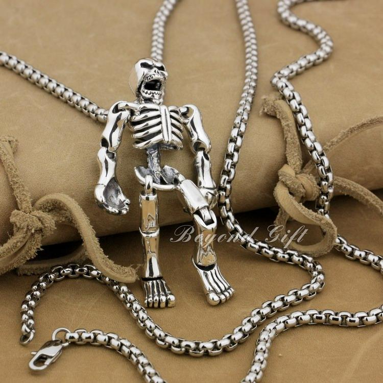 """Огромный 925 стерлингового серебра подвижные конечности череп Biker Beker 9L019 стальное ожерелье 24 """""""