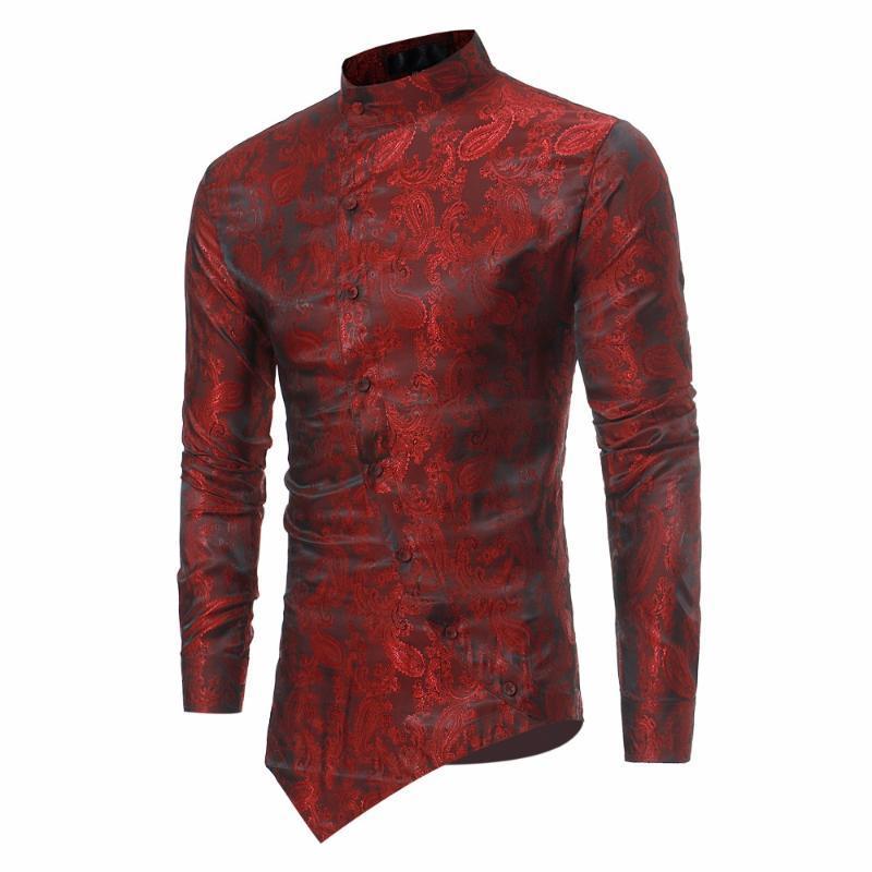 Mode Paisley Shirt Männer 2021 Persönlichkeit Schrägknopf Unregelmäßige Casual Dress Hemd Herren Mandarinkragen Langarm Hemden