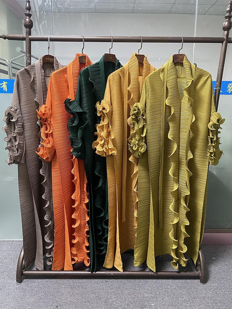 2021 Новая осень зима плюс размер женщин инди эстетическая одежда длинный оранжевый дизайнер шарф воротник лепесток рукав плиссированный ульба