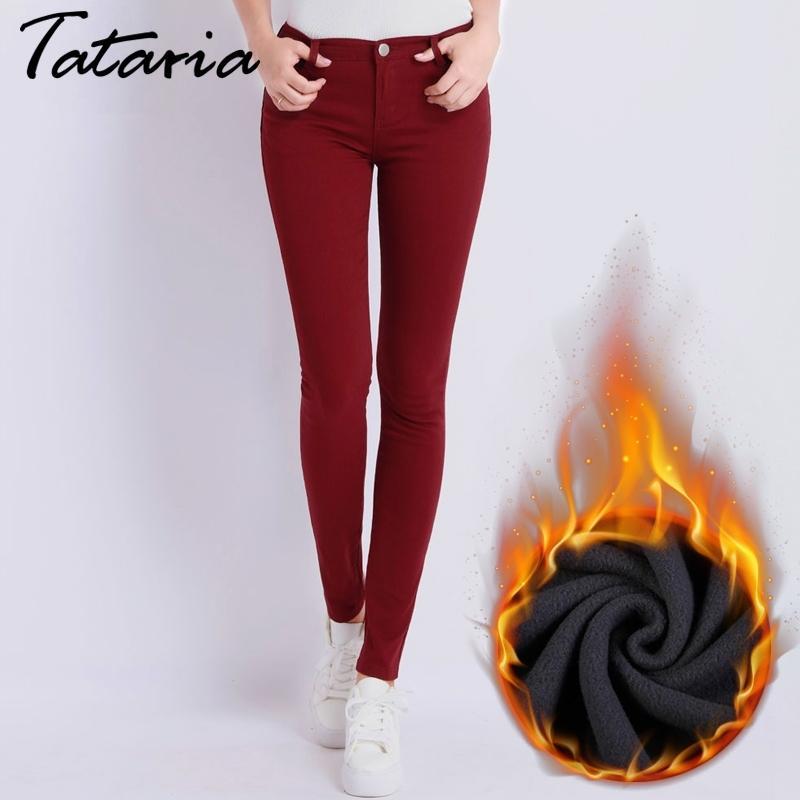 Джинсы Женские джинсовые брюки Candy Color Женские джинсы Донна Стремящиеся днища Феминино Тощие брюки для женщин Брюки Tataria 210222