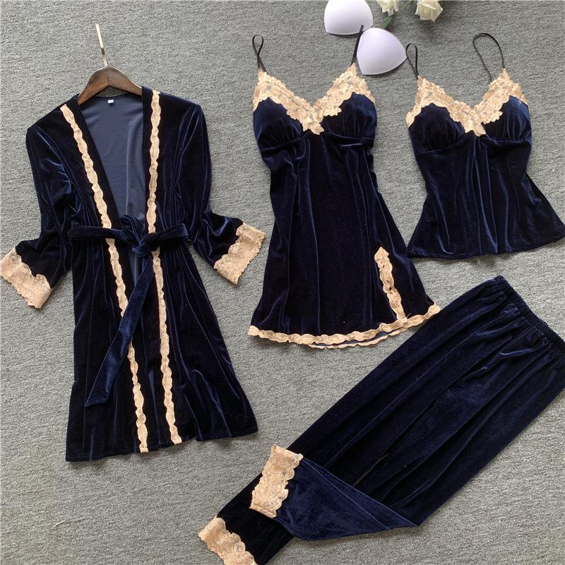 가을 4 조각 여성 잠옷 가운 가운 잠옷 벨벳 나이트웨어 잠옷 스트랩 슬립 라운지 세트 피자마 가슴 패드 735 K2