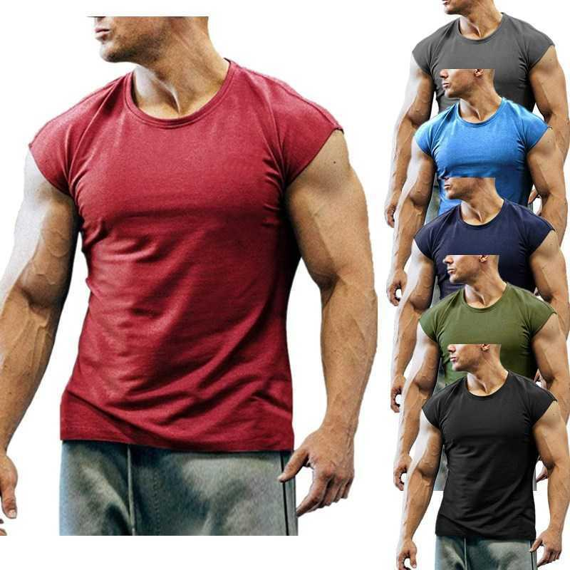 Men's Gym Fitness Tank Tops Sleeveless Bodybuilding Vests Male Solid Color Casual Tops Running Sportwear Workout Training Tee