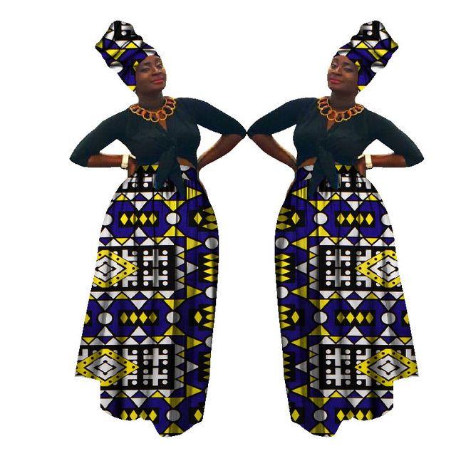 2021 Осенние Дашики Африканский Высокий Талией Шарика Выросли Юбка Базин Ричень Африканская Юбка + Генеральный Плачф Африки Налейте Les Femme Wy1270