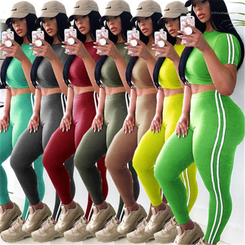 Short Sleeve Short Tops Pants Suits Female Spring Slim High waist Tracksuits Women Solid Color Stripe Sets Fashion Trend Sports Fitness