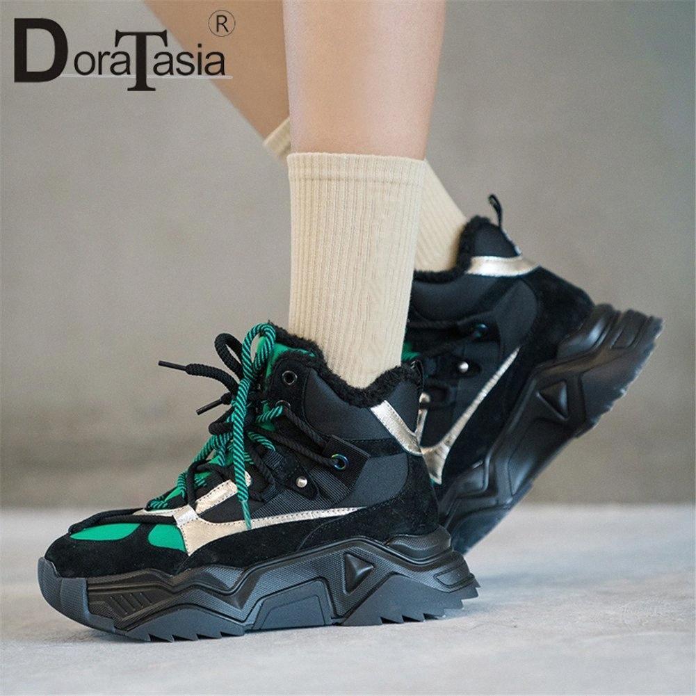 Doratasia New Fashion Moda Cow Stivali da neve Stivali da neve Delle Sneakers Delle Sneakers Ladies Colori misti Scarpe da donna Piattaforma piatta da donna Piattaforma piatta inverno stivaletti caldo avvio A 22RG #