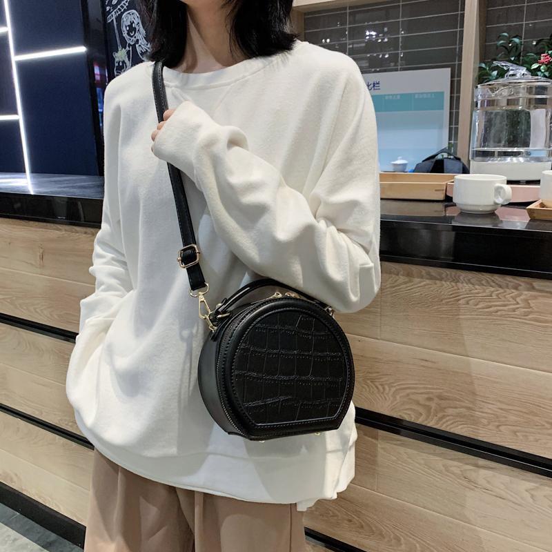 Ladies quality PU leather designer handbag small round messenger bag fashion 2020 new style ladies travel shoulder messenger bag C0228