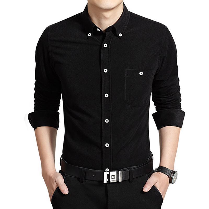 2021 Spring Automne Slim Fit T-shirt pour velours velours / Taille mâle 5XL Mode revers occasionnel Plus Blouses à manches longues Velvet