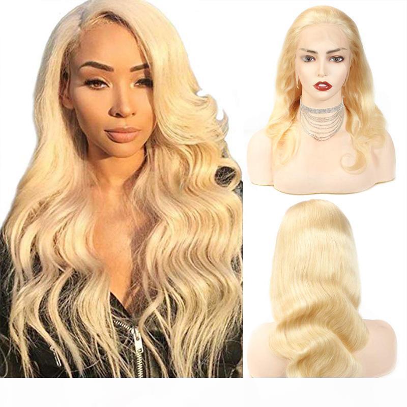 Высокое качество 613 блондинки волна тела предварительно сорванная натуральная линия волос с волосами ребенка 8 ~ 20 дюймов прозрачные кружевные ременные волосы 130% ~ 150% плотность