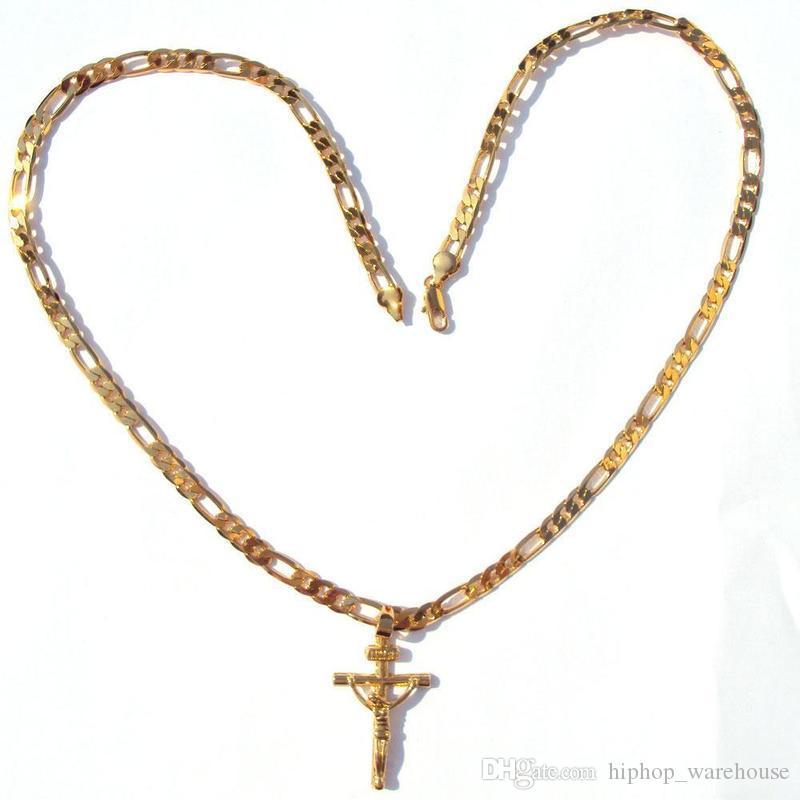 "24k Solid Yellow Gold GF 6mm Italian Figaro Link Chain Necklace 24"" Womens Mens Jesus Crucifix Cross Pendant"
