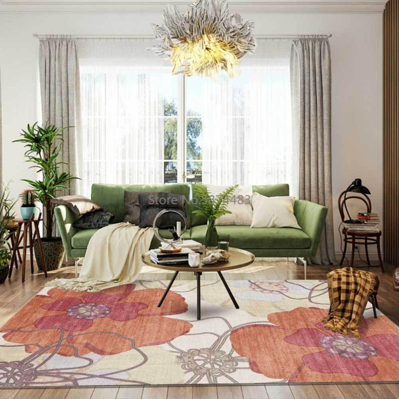 Alfombras Moda moderna Americana Naranja Grandes Flores Grandes Sala de estar Dormitorio Alfombra Alfombra Mat Mat