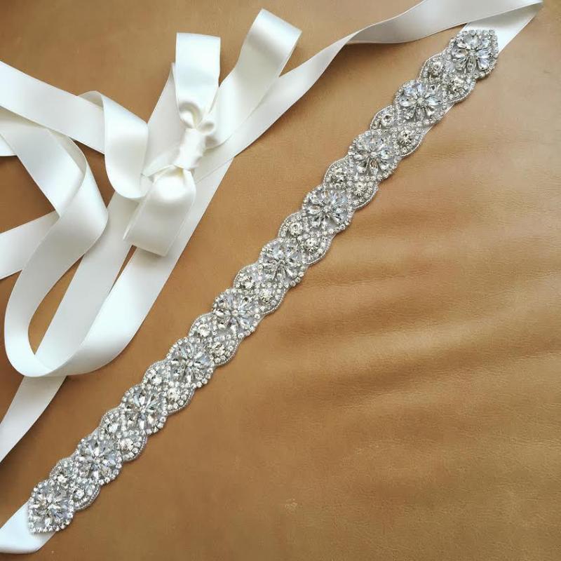 Cinture Jlzxsy Crystal Bridal Sash Belt, sottile vestito da sposa cintura con nastro satinato