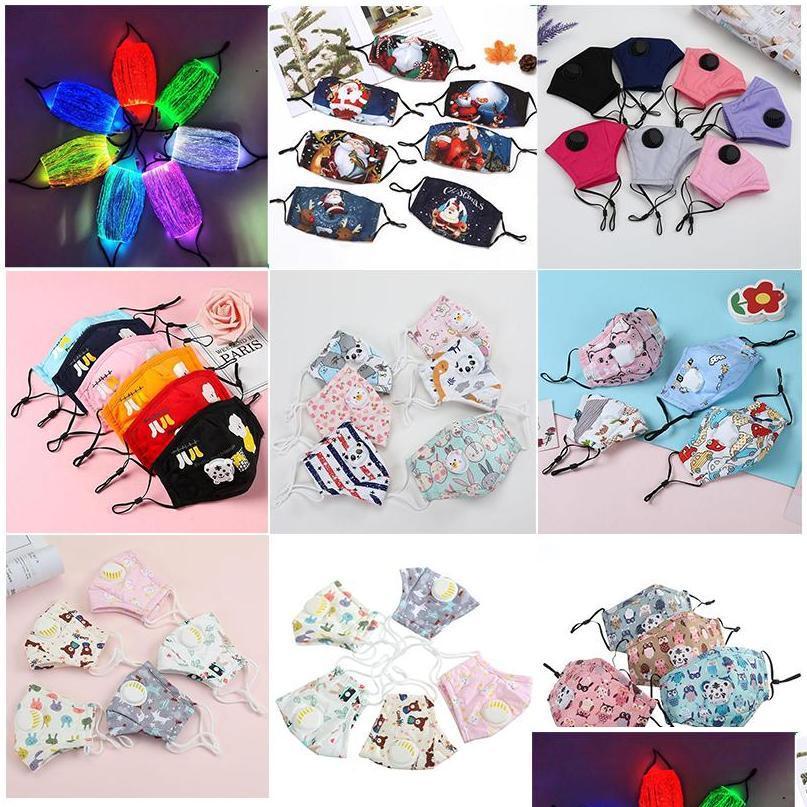 Моющиеся многоразовые маски для лица 7 Цвета Светящиеся светодиодные маски для лица 5 слоев PM2.5 Фильтр FaceeMask Взрослые детские маски JLLXNT SPORT77777