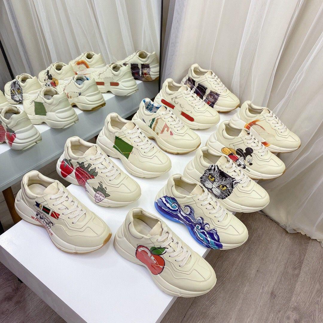 Rhyton Vintage Casual Schuhe Männer Frauen Multicolor Designer Sneakers Chaussures Damen Luxurys Runner Trainer Marke Platform Daddy Sneaker