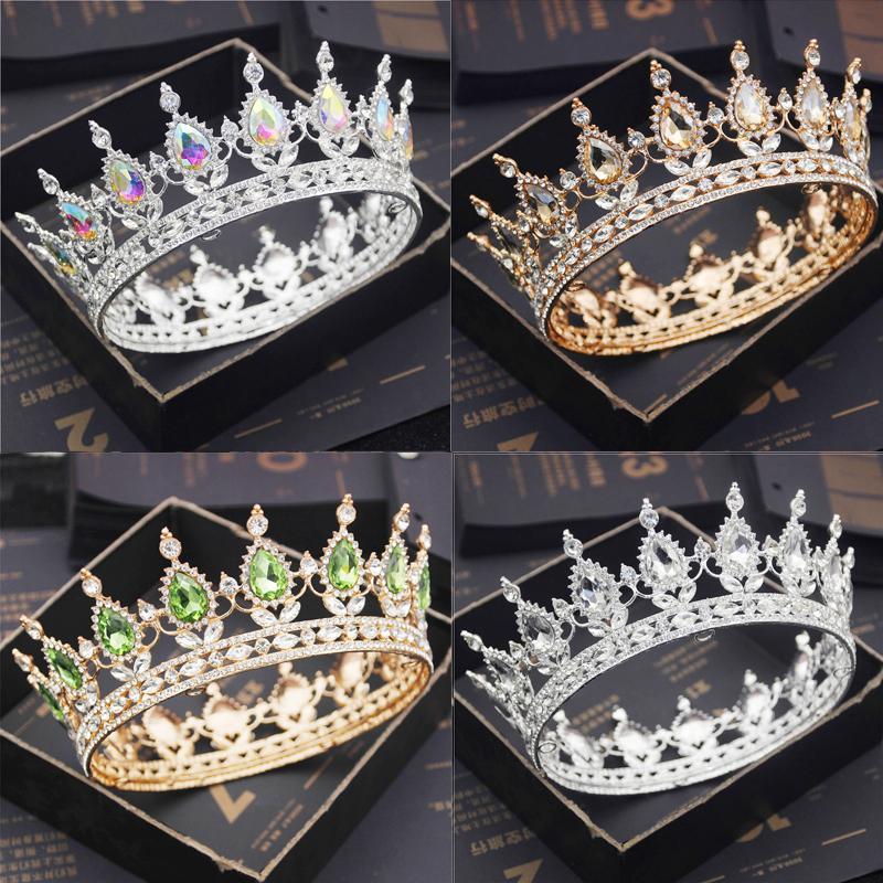 Невеста Royal Purple Crystal Queen King Tiaras и Crowns Bridal Pageant Diadem Голова орнамент Свадебные Волосы Ювелирные Изделия Аксессуары