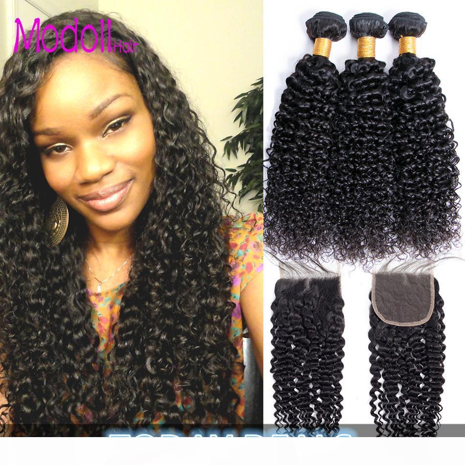 Kinky Burly Bundles avec fermeture Brésilienne Vierge Hair Weave Bundles avec fermeture Jerry Curly Remy Cheveux humains Bundles avec fermeture