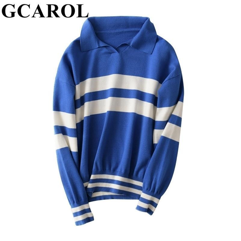 GCarol Autunno Inverno Turn-Down Collar Stripes Jumper 30% lana Bel Ben Short Jersey in maglia Skin-friendly Polo Sweater LJ201112