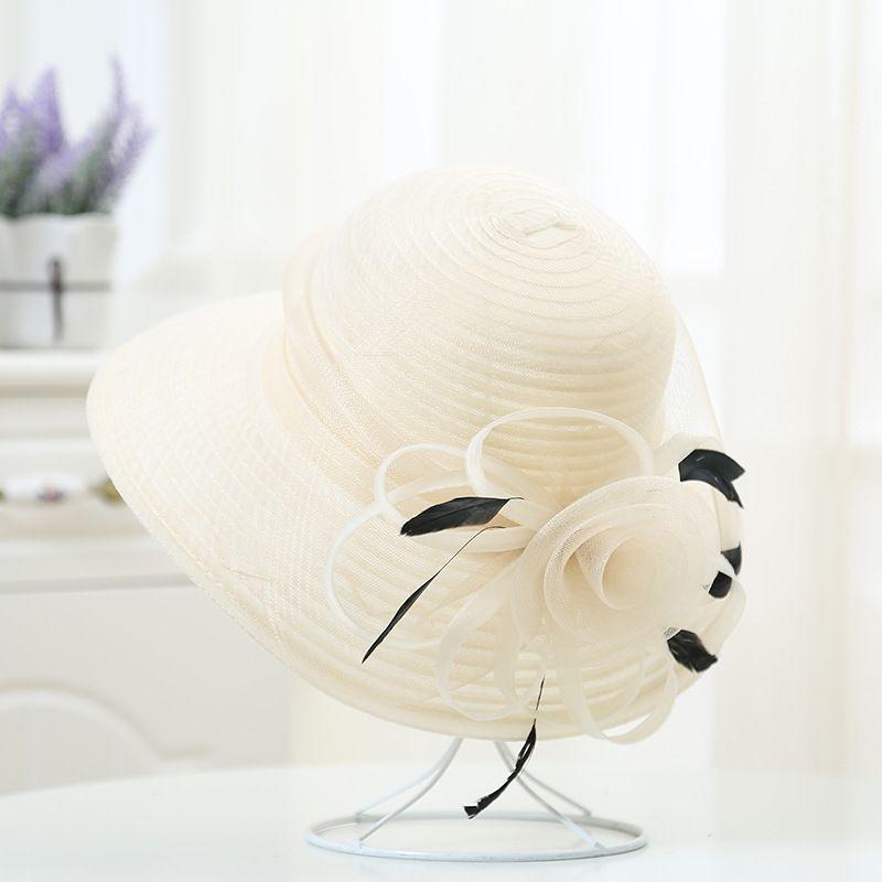Elegante estate testata di estate cappello da donna grande satinato nastro di fiori piuma floppy beach sun cappello kentucky derby wedding church cappelli y0223