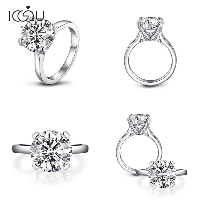 IOGOU Silver 925 Rings Women Engagement Jewelry 3.5 Carats Round Cut Simulated Diamond Ring Sona Simulated Shiny Wedding Gift J1208