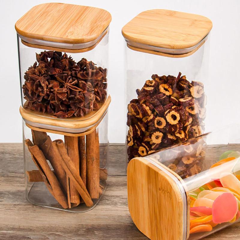 Квадратная стеклянная банка зерна Canister герметичный контейнер с крышкой для свободного кофейного зерна