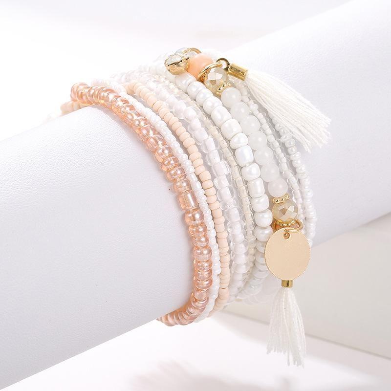 Pulseira definida para mulheres coloridas borla pulseira artesanal frisado moda em mãos boas amigas jóias novas 2021 tendência