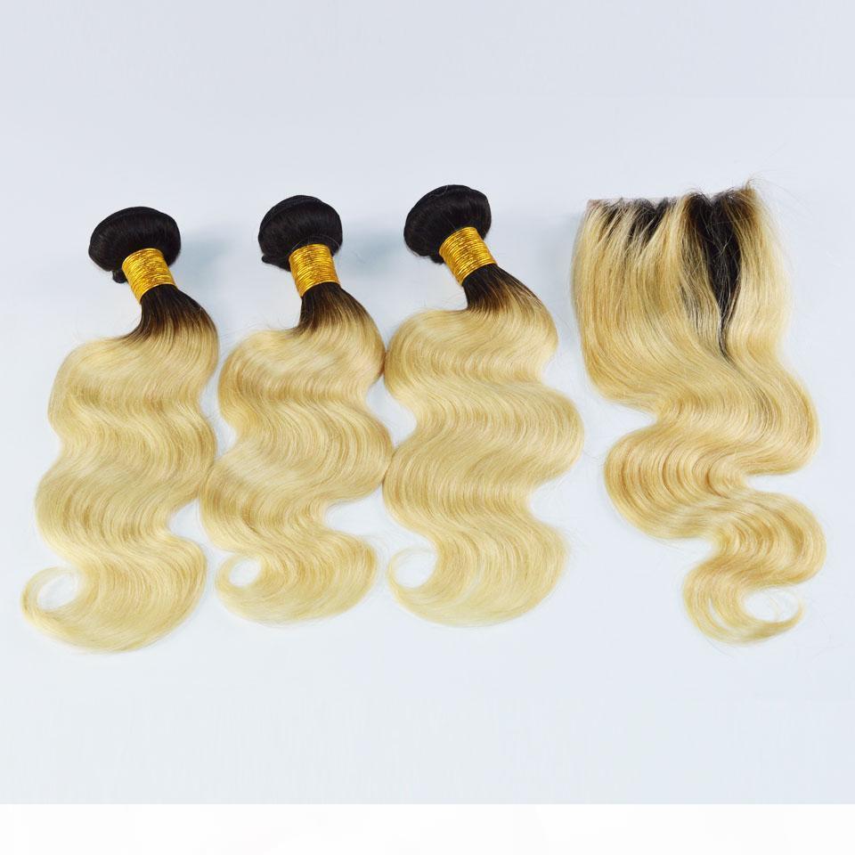 Ombre Sarışın Brezilyalı Virgin İnsan Saç Örgüleri 1B 613 Ile Üst Kapatma 4 ADET Saç Atkı + 1 adet Dantel Kapatma Demetleri Vücut Dalga ile