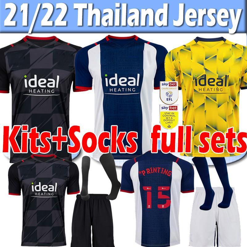 2021 2022 West Brom Soccer Jerseys Bromwich Albion 21/22 Amiseta de Futbol Robson Kanu Männer Kids Kits Socken Full Sets Jersey Football Hemd Uniform