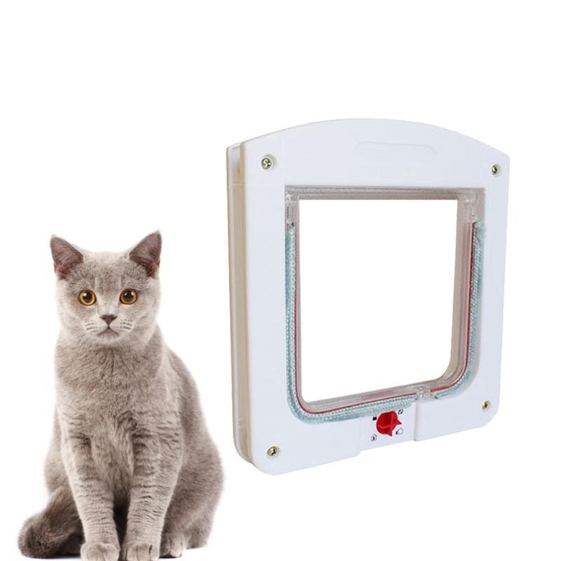 Entrada de animal de estimação controlável e saída porta gato segura orifício suprimentos tamanho transportadoras brancas, casas de caixas