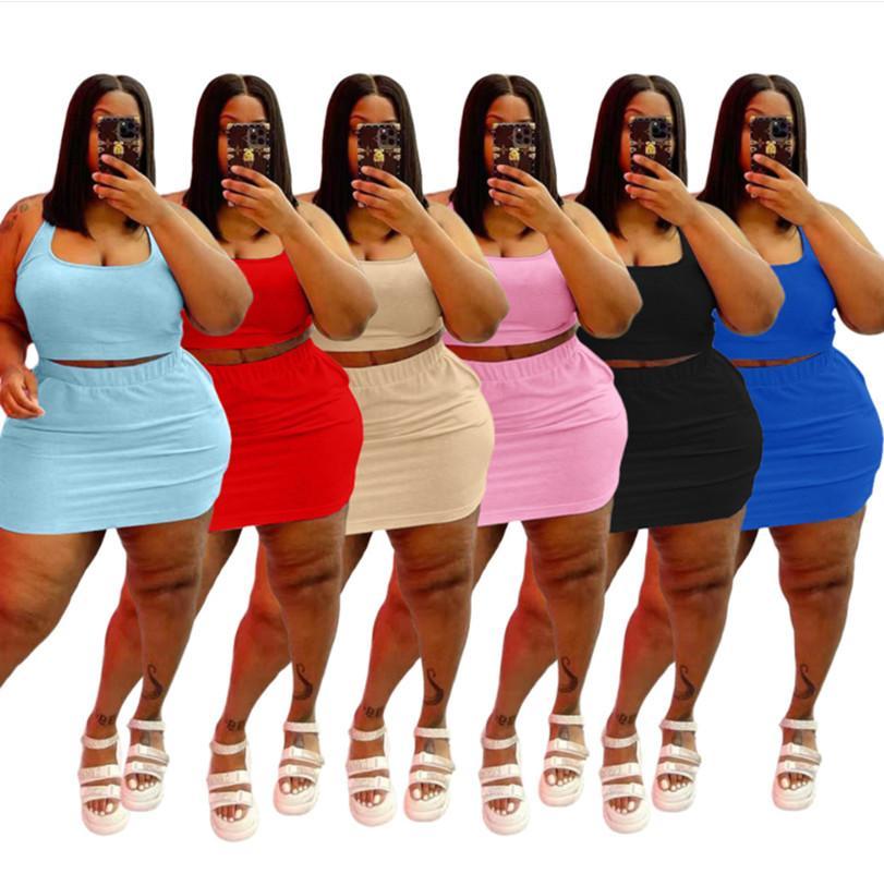 Summer Women Taille Robes Ensembles 3XL 4XL 5L 5L Débardeur sans manches + jupe courte 2 pièces Set Solide Top + Mini robe Vêtements 5340