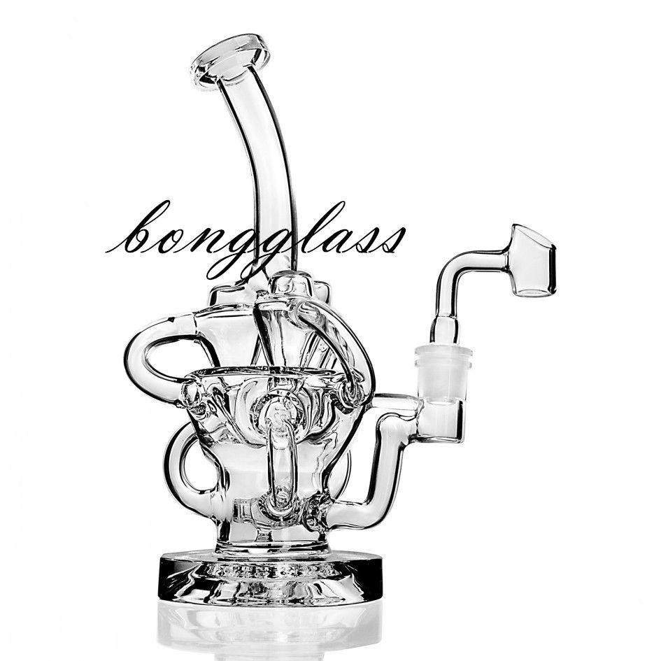 비커 봉 재활용 기름 rigs 두꺼운 유리 물 봉지 더블 기능 물 파이프 흡연 액세서리 DAB 굴착기 샤워 헤드 디퓨저 14mm