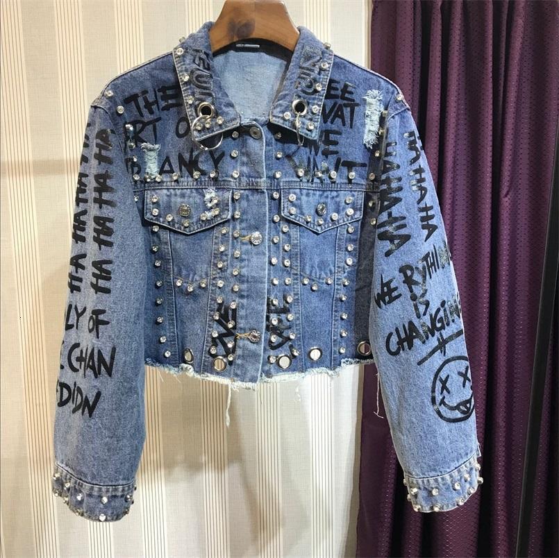 Chaqueta de estilo punk-estilo femenino, chaqueta recortada con letras de impresión de cuentas, estilo, para otoño, 2021 mujer 4HD2