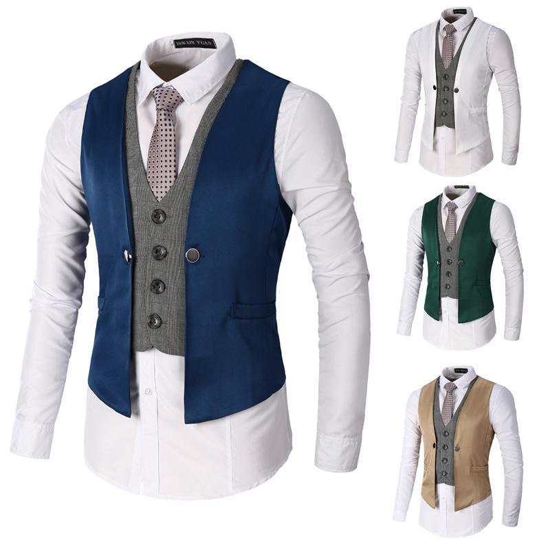 New Dress Vests For Men Slim Fit Mens Suit Vest Male Waistcoat Gilet Homme Casual Sleeveless Formal Business Jacket