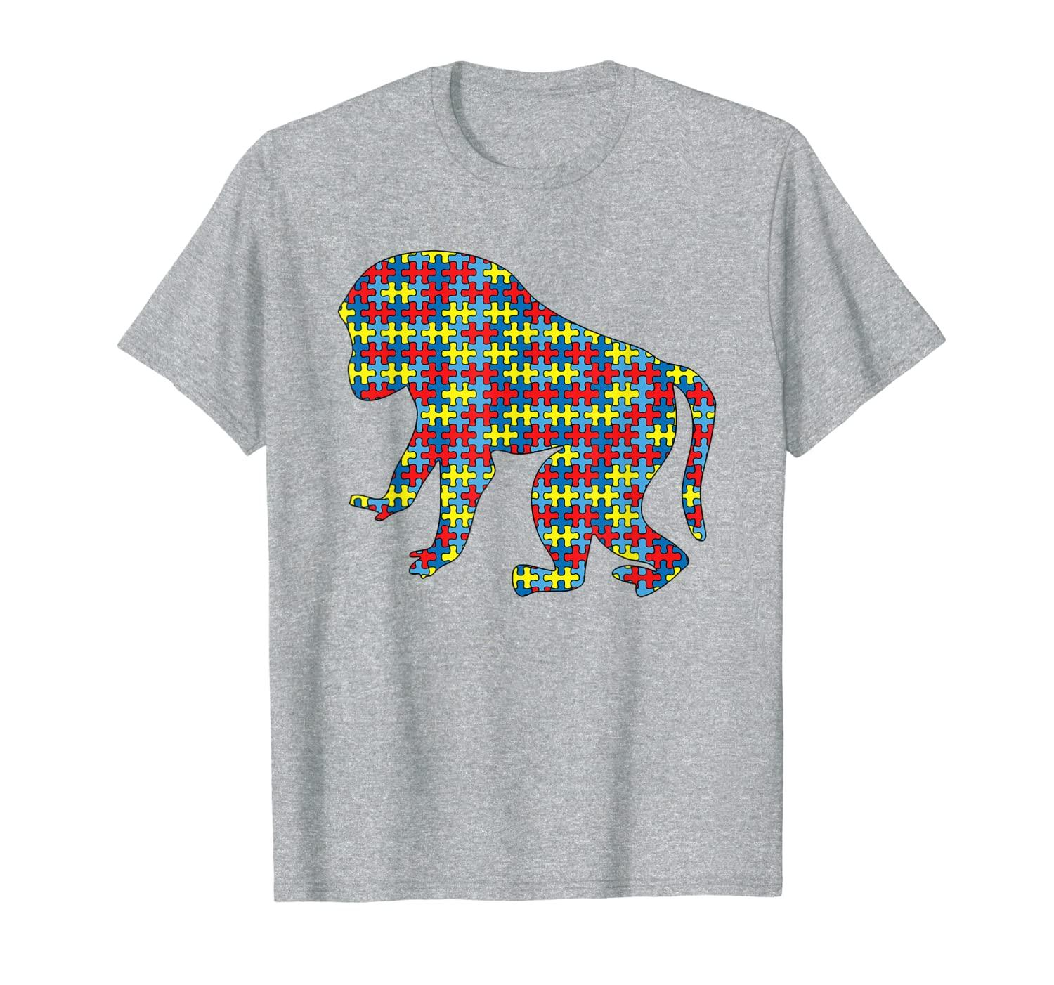 Ape Autism Awareness Kids Monkeys Puzzle Day Mom Gift T-Shirt